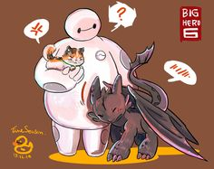 Big Hero 6 and How to Train Your Dragon crossover!  So cute!  Mochi and Toothless love Baymax!