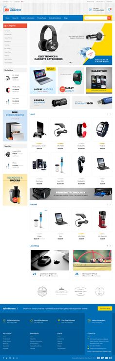 Harvest Opencart Responsive Theme is specially designed for #electronics #store #website template.