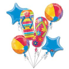 Giant Summer Flip Flops Beach Ball Swimming Balloon Bouquet (5) - Click Image to Close