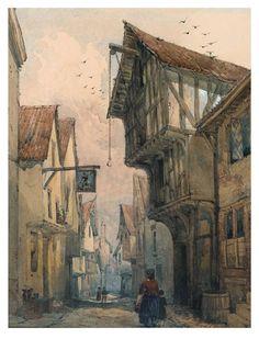 Samuel Prout (c1810) View of Water Lane, York