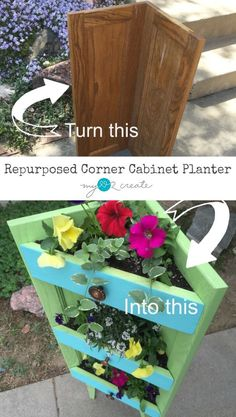 Make a corner planter out of old cabinet doors. This planter is perfect for a small corner on your patio or porch. Make a corner planter out of old cabinet doors. This planter is perfect for a small corner on your patio or porch. Outdoor Projects, Garden Projects, Wood Projects, Woodworking Projects, Woodworking Books, Cabinet Door Crafts, Old Cabinet Doors, Repurposed Furniture, Diy Furniture
