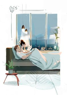 Reading in Bed Family Illustration, Illustration Art, Couple Drawings, Art Drawings, Cute Couple Art, I Love You Baby, Fantasy Paintings, Photomontage, Doodle Art