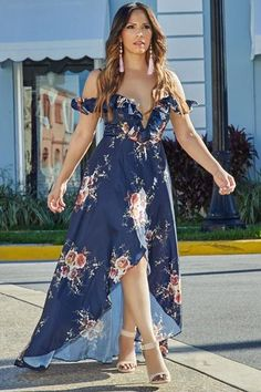 Jazmine Navy Floral Print Plunging Off Shoulder High Low Maxi Dress Elegant Dresses, Cute Dresses, Sexy Dresses, Dress Outfits, Casual Dresses, Fashion Dresses, Cocktail Gowns, Womens Cocktail Dresses, Party Dresses For Women