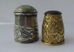 Spanish 19th Century 14k Gold Thimble 5 grams, Silver Thimble 8 Grams