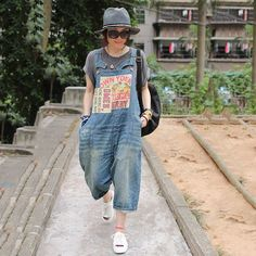 165868ae6800 Casual loose jumpsuit denim overall