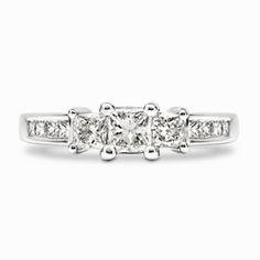 Three Princess Cut Diamond Ring