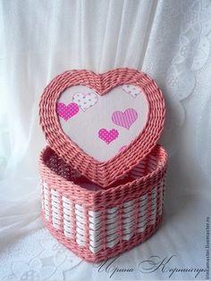 """Шкатулка в форме сердца """"нежные сердечки"""" - плетение,Плетение из лозы"""