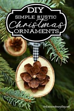 Decorate the tree with unique Christmas ornaments for a simple natural look. This birch slice and pine cone ornament is easy to make with this how to tutorial. Great for gift-giving and package topping too.