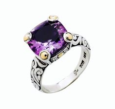 Samuel B.  12mm Cushion Cut prong set 6.35ctw. Amethyst Sterling Silver & 18K Gold Accent Ring,18K gold accent ( gold gram weight is 0.02) • Nickel free • Oxidized finish      Country of Origin: Indonesia