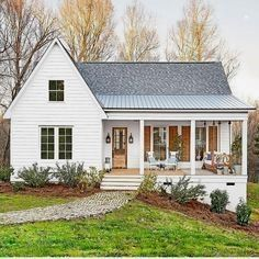 The perfect white house -- love the natural wood .. - CLICK THE PIC for Many Metal Roofing Pics. #roofing #metalroofingsystems