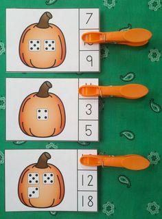Engaging Fall Mental Math Centers for Your Little Learners!   $ #mentalmath #placevalue  #subitizing #pumpkins  #dice #autumn  #fall #kampkindergarten  https://www.teacherspayteachers.com/Product/Pumpkin-Number-Fun-Math-Centers-Numerals-to-20-2666619