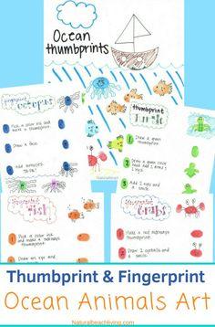 Thumbprint ocean animals, make fingerprint art animals with your kids with a free printable tutorial Ocean Lesson Plans, Preschool Lesson Plans, Preschool Crafts, Preschool Kindergarten, Preschool Ideas, Ocean Animal Crafts, Ocean Crafts, Beach Crafts, Ocean Activities