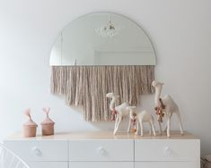 Girls bedroom + white dresser + long dresser + round mirror + pink fringe + animal figurines + dresser styling + pink and white bedroom + bubble chandelier Playroom Decor, Bedroom Decor, Youth Rooms, Kids Rooms, Wall Bench, Canopy Frame, Art Deco Lamps, Mid Century House
