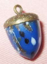 """Antique Victorian Charmstring Button - Glass & Brass Realistic Acorn - 3/4"""""""