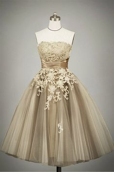 Ready to Wear Mocha 50s Tea Length Strapless Lace Tulle Formal Prom Dress