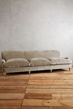 Anthropologie Slub Velvet Glenlee Grand Sofa, Wilcox