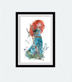 Disney princess decor Merida watercolor art print por ColorfulPrint