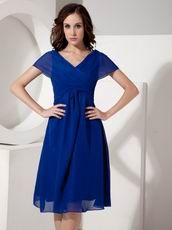V-neck Royal Blue Mother Of The Bride Dress For Beach Wedding