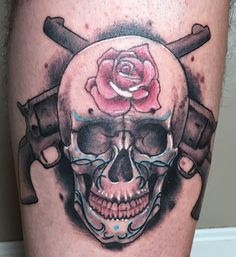 Latest tattoo... Skull with crossed revolvers.