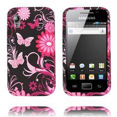 Symphony (Pinkit Perhoset - Musta) Samsung Galaxy Ace Silikonisuojus