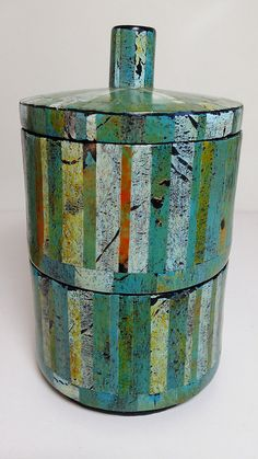 Two tier faux turquoise trinket box made from polymer clay by Wendy Jorre de St Jorre