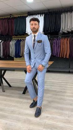 Mens Suit Colors, Blue Suit Men, Blue Mens Suit Wedding, Wedding Suits, Blue Suits, Sky Blue Suit, Trendy Suits For Men, Best Suits For Men, Stylish Mens Outfits