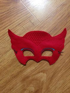 Red Owl Girl PJ Mask. Owlette. mask. Pretend by ShelleyWEmbroidery