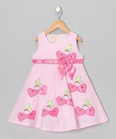 Light Pink Cherry Heart A-Line Dress