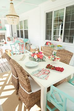 Mint & Coral Back Porch...color pallet for 601....because of the mex tile