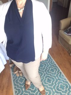Ivory Cardigan with Navy Blouse and Khakis