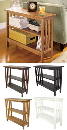 Slim Bookcase Table Plenty of storage that won't crowd your room. perfect for the TV in the den .then i can have my bookcase back in my hobby area . Decor, Furniture, Home Goods, Small Spaces, Interior, Home, Home Furniture, Slim Bookcase, Wood Table