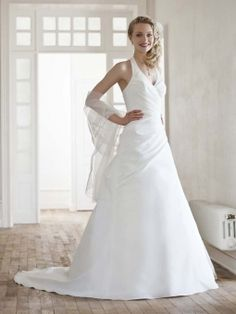 A-line Halter Taffeta Sweep Train White Ruffles Wedding Dresses