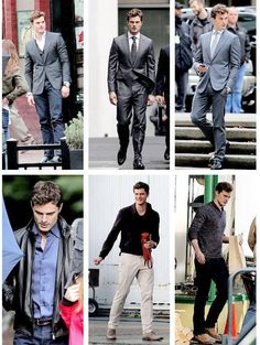 I love this man!!The many looks of Christian Grey. Jamie Dornan is so hot