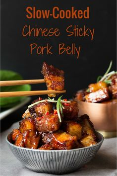 Sticky Chinese Belly Pork – Slow-cooked until meltingly tender and then finished with a sticky garlic and chilli glaze. Sticky Chinese Belly Pork – Slow-cooked until meltingly tender and then finished with a sticky garlic and chilli glaze. Pork Recipes, Slow Cooker Recipes, Asian Recipes, Cooking Recipes, Chinese Recipes, Asian Pork Belly Recipes, Cooking Tips, Hawaiian Recipes, Chinese Desserts