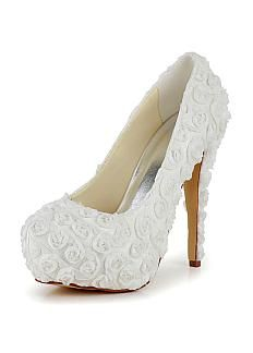 Elegant Satin Upper Closed Toe Stiletto Heels Bridal Shoes With Lace Flowers