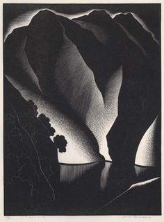 "Paul Landacre ""Tuonela"" Wood engraving on Japan Kitakata paper, 1934."