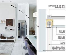 A porta para a cozinha (180 x 5 cm) exibe a mesma altura do pé-direito. Feita de compensado laqueado, ela é leve e corre em trilhos fixados no alto / Leila Dionízios