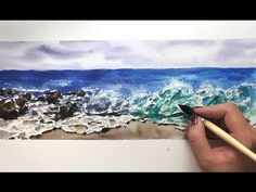 Time Lapse Watercolor Crushing Waves Ocean by Untamed Little Wolf - YouTube