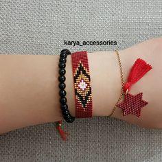 - Burgundy-black-gold harmony … that to # Miyukikü - Loom Bracelet Patterns, Bead Loom Bracelets, Bead Loom Patterns, Beading Patterns, Beaded Earrings, Beaded Jewelry, Lace Bracelet, Loom Beading, Jewelry Trends