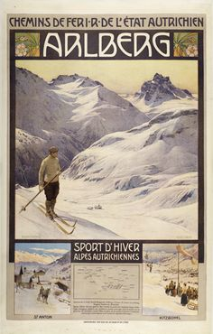 Christopher & Co.  Arlberg Vintage Ski Posters, Retro Posters, Tourism Poster, Railway Posters, Winter Images, Retro Illustration, Winter Sports, Austria Travel, Luggage Labels