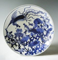 "Chinese Blue White Kangxi Porcelain Charger phoenix scene, 17th cen, measures 13.5""dia"