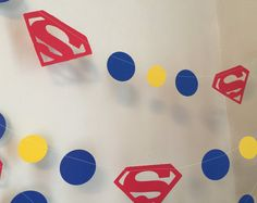 Superman Garland - Super Man inspired banner - Super Man Birthday Decoration - Superman Themed Party - 10 foot Garland-Boys Room Decor