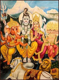 Shiva Parivar Lord Shiva and Goddess Parvati with their sons, Ganesha and Kartikeya. Vahanas, Mayur, Simha, Nandi and Mushak Shiva Art, Shiva Shakti, Krishna Art, Hindu Art, Kali Goddess, Snake Goddess, Hindu Statues, Lord Shiva Hd Images, Hindu Rituals
