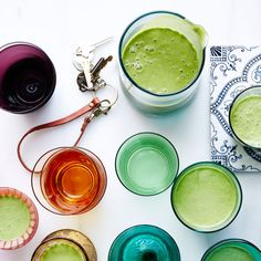 """The Greenest smoothie Ingredients SERVINGS: MAKES 2 1 banana, frozen, cut into 1"""" pieces 1 cup frozen pineapple pieces 1 cup fresh parsley, spinach, or kale leaves 1 cup unsweetened almond milk 2 tablespoons almond butter 2 tablespoons flaxseed oil 1 teaspoon agave syrup (nectar) 1 teaspoon matcha (green tea powder) ½ teaspoon finely grated peeled ginger"""