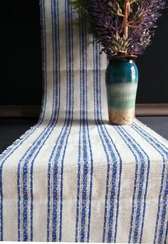 Linen Table Runner Blue Stripes Fringed Edge Pewter Grey, Gray, Lace Decor, Linen Sheets, Lace Table, Beach Wedding Decorations, Beaded Trim, Striped Linen, Wedding Table