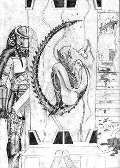 Lab Encounter by Saera-Song on DeviantArt Wolf Predator, Predator Art, Anime Alien, Alien Art, Horror Movie Characters, Horror Movies, Alien Vs Predator Costume, Anubis, Dragon Rey