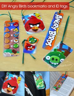 Angry Birds bookmarks and ID tags DIY craft