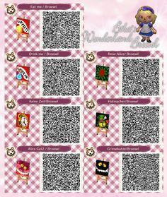 Deko-Designs - Grinsekatze, Eat me - drink me - ckock - Uhr - Iss mich - drink mich - Ginger cat - Abenteuer im Broesel-Wonderland - Wunderland - Path - Weg - qr - ACNL - Broesel - Animal Crossing New Leaf