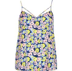 I'm shopping Blue floral print strappy cami top in the River Island iPhone app.