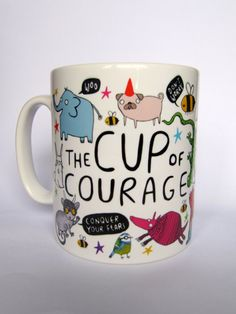 This ceramic mug adorned with illustrations of strange characters proclaiming positivity, courage and general optimism. The perfect gift for